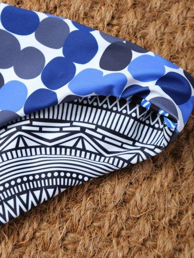 Polka Dot Tribal Print Bikini Top and Bottoms - MULTICOLOR S Mobile