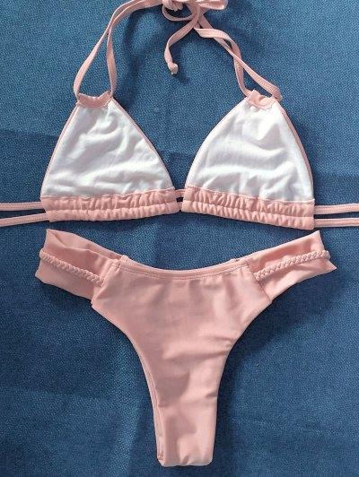 String Crossover Bikini Set - PINKBEIGE L Mobile