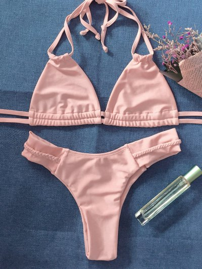 String Crossover Bikini Set - PINKBEIGE M Mobile