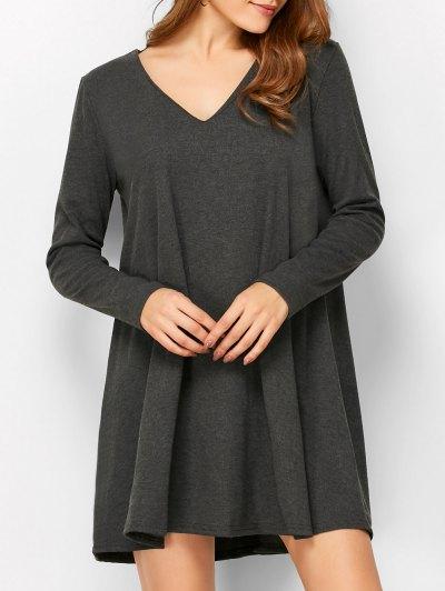 Long Sleeve Smock Mini Dress - DEEP GRAY S Mobile