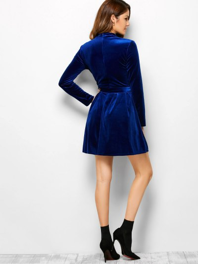 Velvet Choker Wrap Mini Dress - BLUE M Mobile