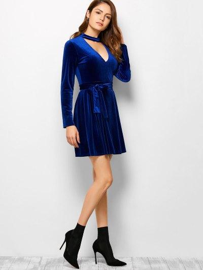 Velvet Choker Wrap Mini Dress - BLUE S Mobile