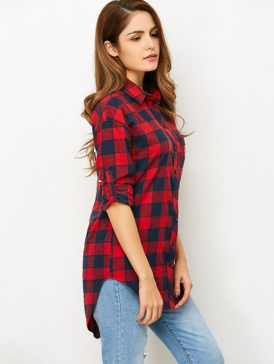 Letter Checked High-Low Shirt - RED L Mobile