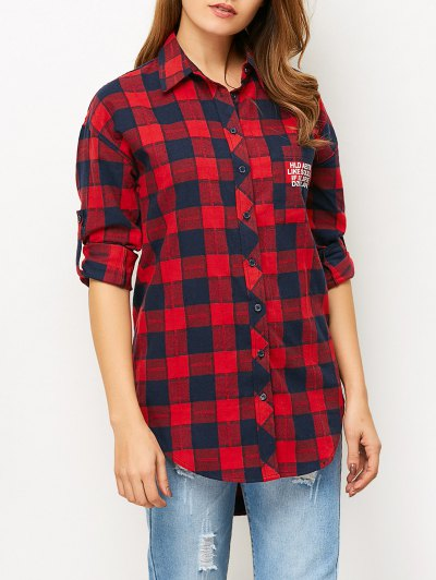 Letter Checked High-Low Shirt - RED M Mobile