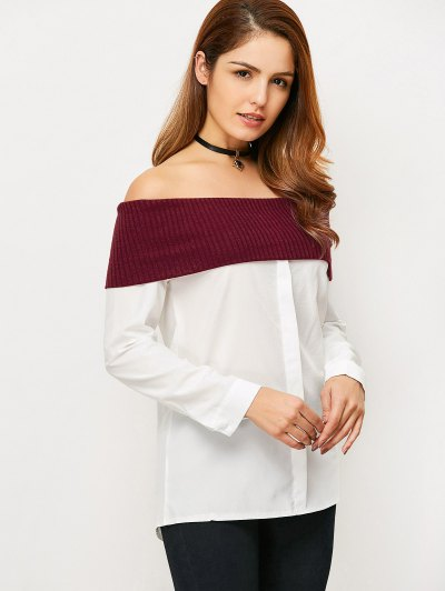 Knitting Panel Off The Shoulder Blouse - WHITE XL Mobile