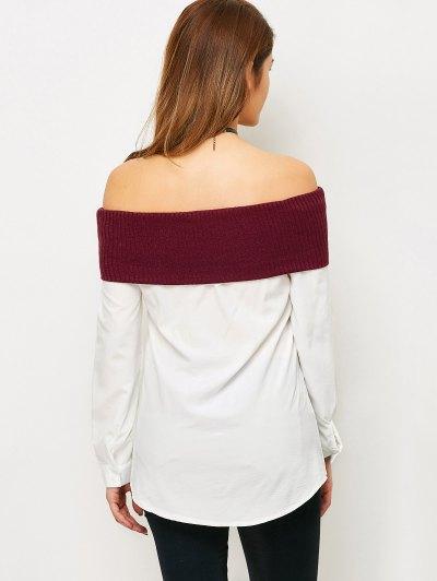 Knitting Panel Off The Shoulder Blouse - WHITE S Mobile