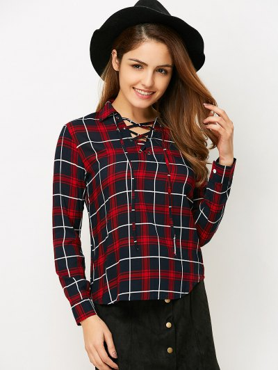 Checked Lace-Up Shirt - RED M Mobile