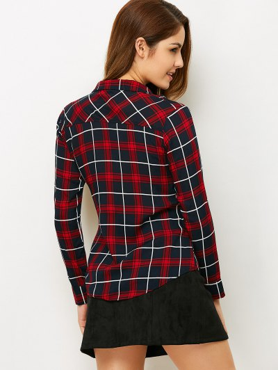 Checked Lace-Up Shirt - PLAID S Mobile