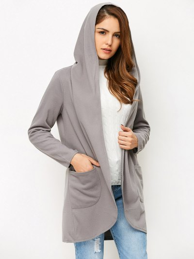 Cotton Open Front Coat - GRAY L Mobile