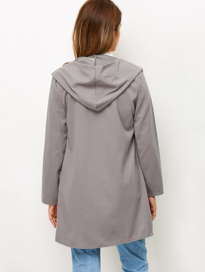 Cotton Open Front Coat - GRAY M Mobile