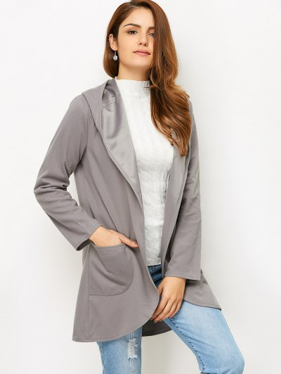 Cotton Open Front Coat - GRAY S Mobile