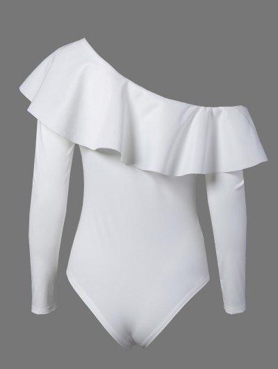 Ruffles Long Sleeve Skinny Bodysuit - WHITE XL Mobile