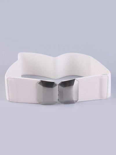 Smooth Alloy Buckle Elastic Waist Belt - WHITE  Mobile