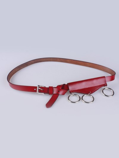Faux Leather Waist Belt - RED  Mobile