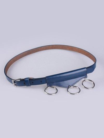 Faux Leather Waist Belt - CADETBLUE  Mobile