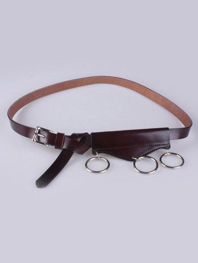 Faux Leather Waist Belt - MAROON  Mobile