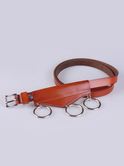 Faux Leather Waist Belt - LIGHT BROWN  Mobile