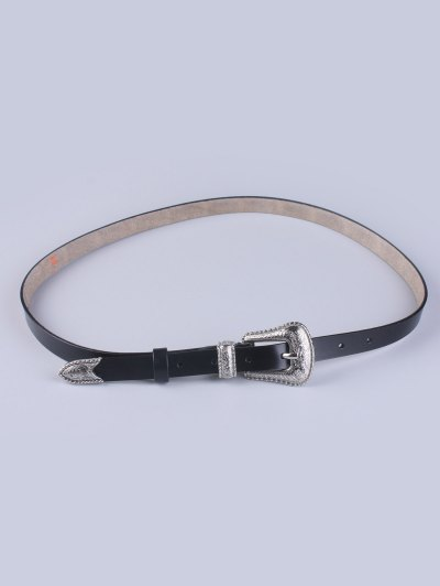 Vintage Pin Buckle Waist Belt - BLACK  Mobile