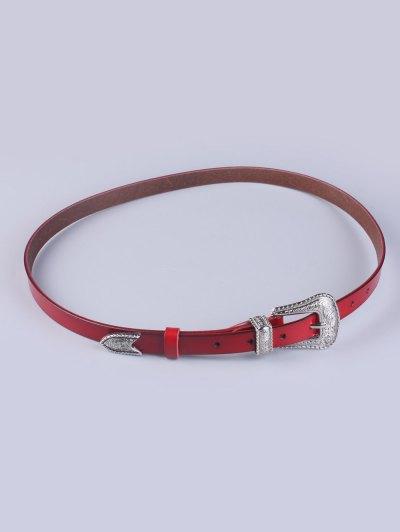 Vintage Pin Buckle Waist Belt - WINE RED  Mobile