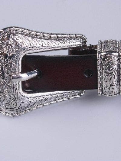 Vintage Pin Buckle Waist Belt - MAROON  Mobile