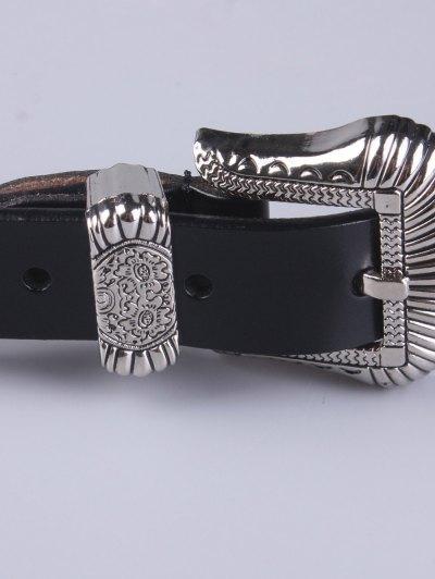 Pin Buckle Vintage Waist Belt - BLACK  Mobile