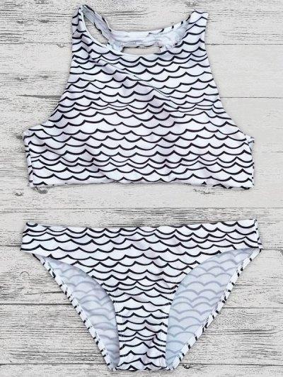 Cut Out Wavy Print Cropped Bikini Set - BLACK M Mobile