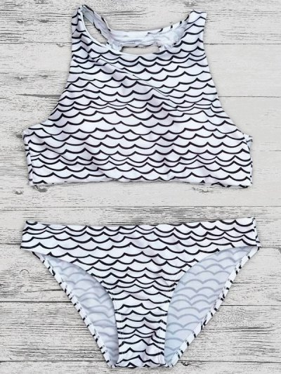 Cut Out Wavy Print Cropped Bikini Set - BLACK S Mobile