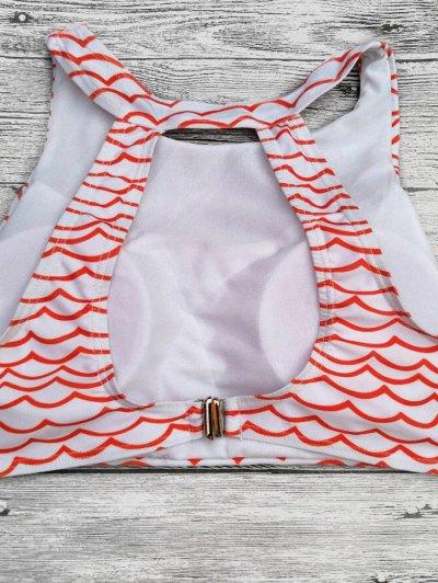 Cut Out Wavy Print Cropped Bikini Set - RED L Mobile