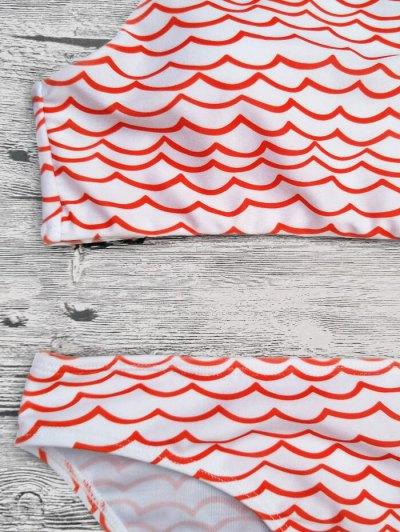 Cut Out Wavy Print Cropped Bikini Set - RED M Mobile