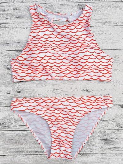 Cut Out Wavy Print Cropped Bikini Set - RED S Mobile