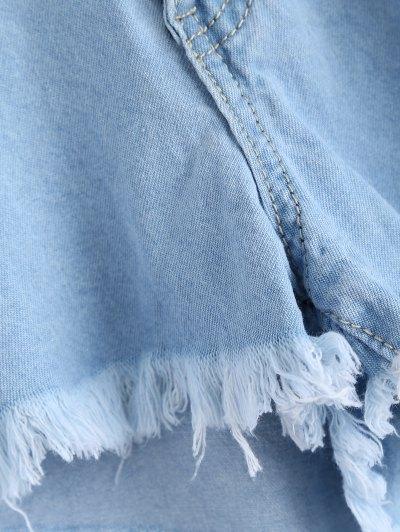 Light Wash Rivet Ripped Denim Shorts - LIGHT BLUE M Mobile