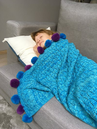 Pineapple Crochet Kids' Mermaid Blanket Throw - LAKE BLUE  Mobile