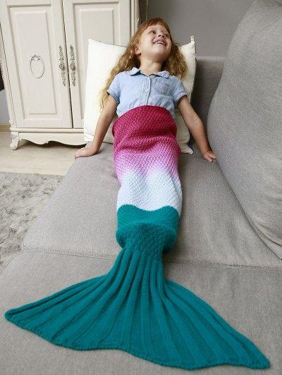 Kids' Ombre Crochet Knit Mermaid Blanket Throw - DEEP PINK  Mobile