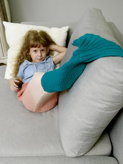 Kids' Ombre Crochet Knit Mermaid Blanket Throw - ORANGEPINK  Mobile