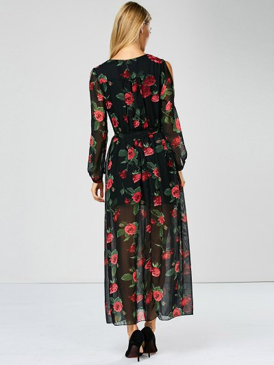 Floral See Through Maxi Swing Dress - BLACK XL Mobile