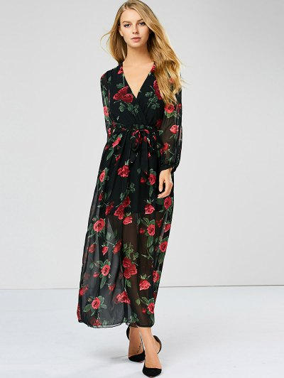 Floral See Through Maxi Swing Dress - BLACK L Mobile
