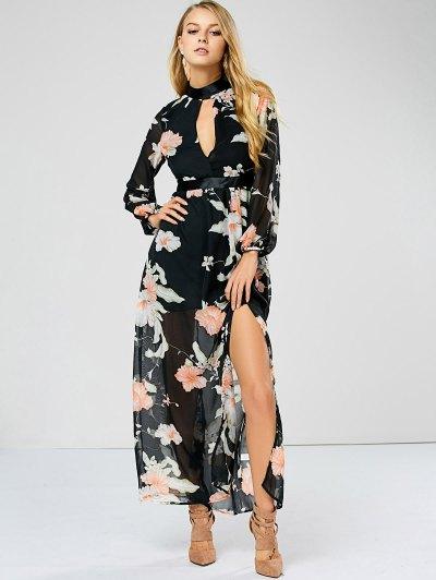 Slit Floral Keyhole Sheer Swing Dress - FLORAL XL Mobile