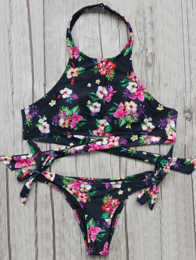 High Neck Floral Bikini Top and Bottoms - BLACK S Mobile