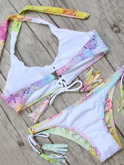 Halter Tassel String Bikini Top and Bottoms - MULTICOLOR L Mobile