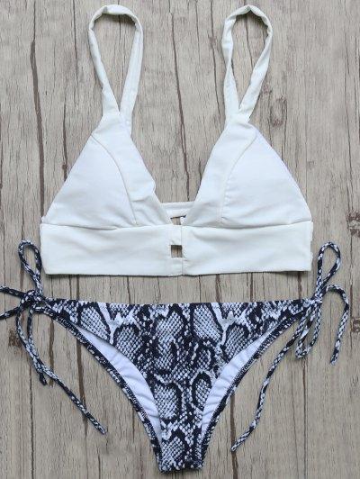 Plunge Bikini Top and Python Print Thong Bottoms - BLUE AND WHITE L Mobile