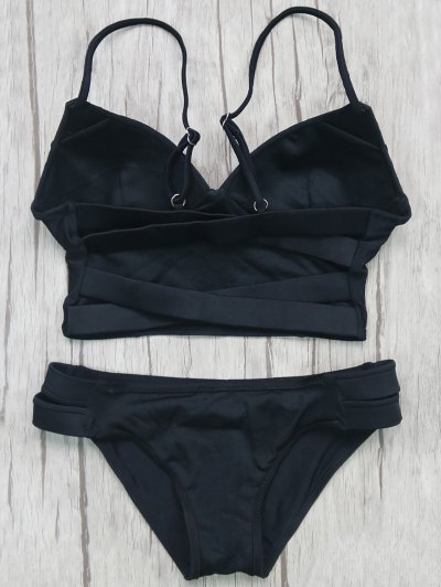 Long Line Bikini Top and Bottoms - BLACK L Mobile