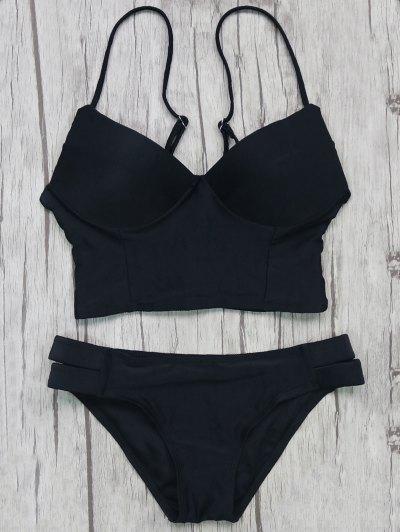 Long Line Bikini Top and Bottoms - BLACK M Mobile