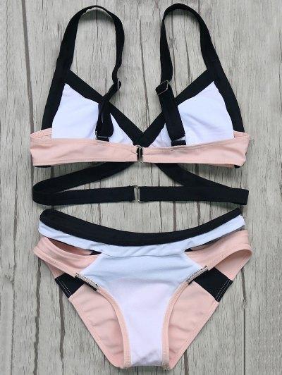 Patchwork Bandage Bikini Set - PINK M Mobile