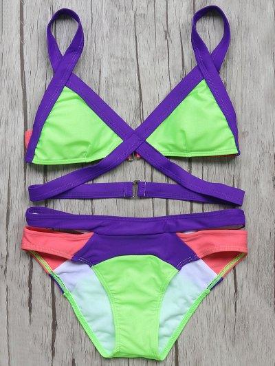 Patchwork Bandage Bikini Set - NEON GREEN L Mobile