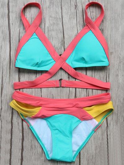 Patchwork Bandage Bikini Set - TURQOISE L Mobile
