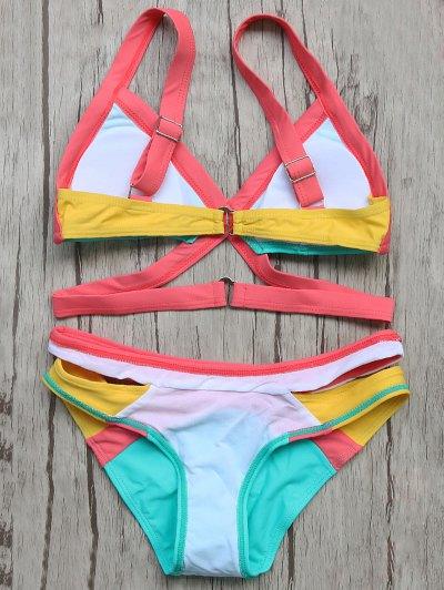 Patchwork Bandage Bikini Set - TURQOISE S Mobile
