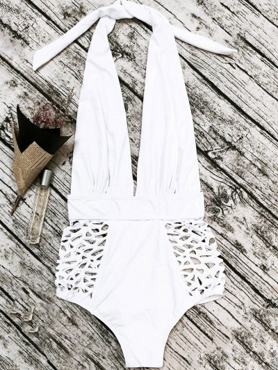 High Waisted Plunge Neck Hollow Out Swimsuit - WHITE XL Mobile