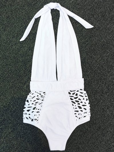 High Waisted Plunge Neck Hollow Out Swimsuit - WHITE L Mobile
