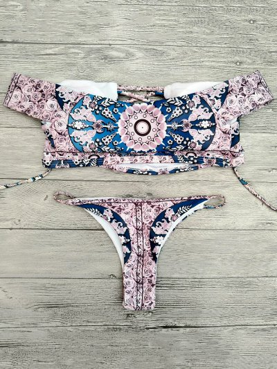 Floral Lace-Up Off The Shoulder Bikini Set - PINK L Mobile