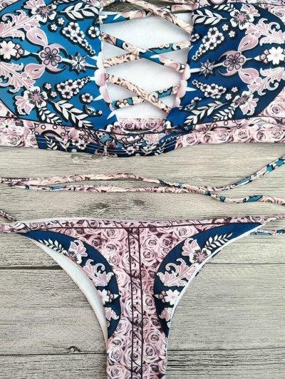 Floral Lace-Up Off The Shoulder Bikini Set - PINK S Mobile